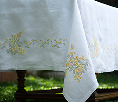 Embroidered Handmade Tablecloth Mimosas